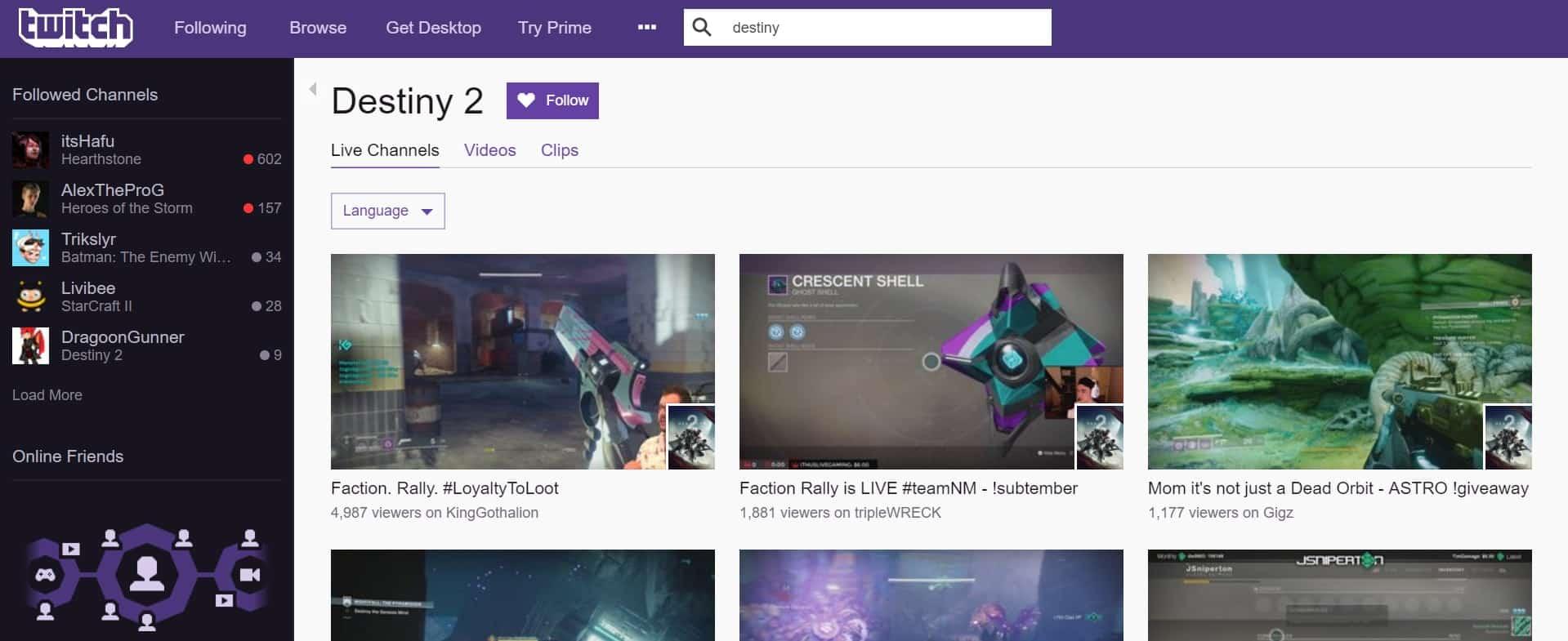 Destiny 2 Boosting now streamed