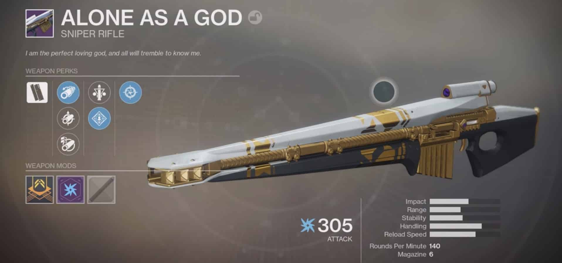 alone as a god leviathan raid new legendary sniper