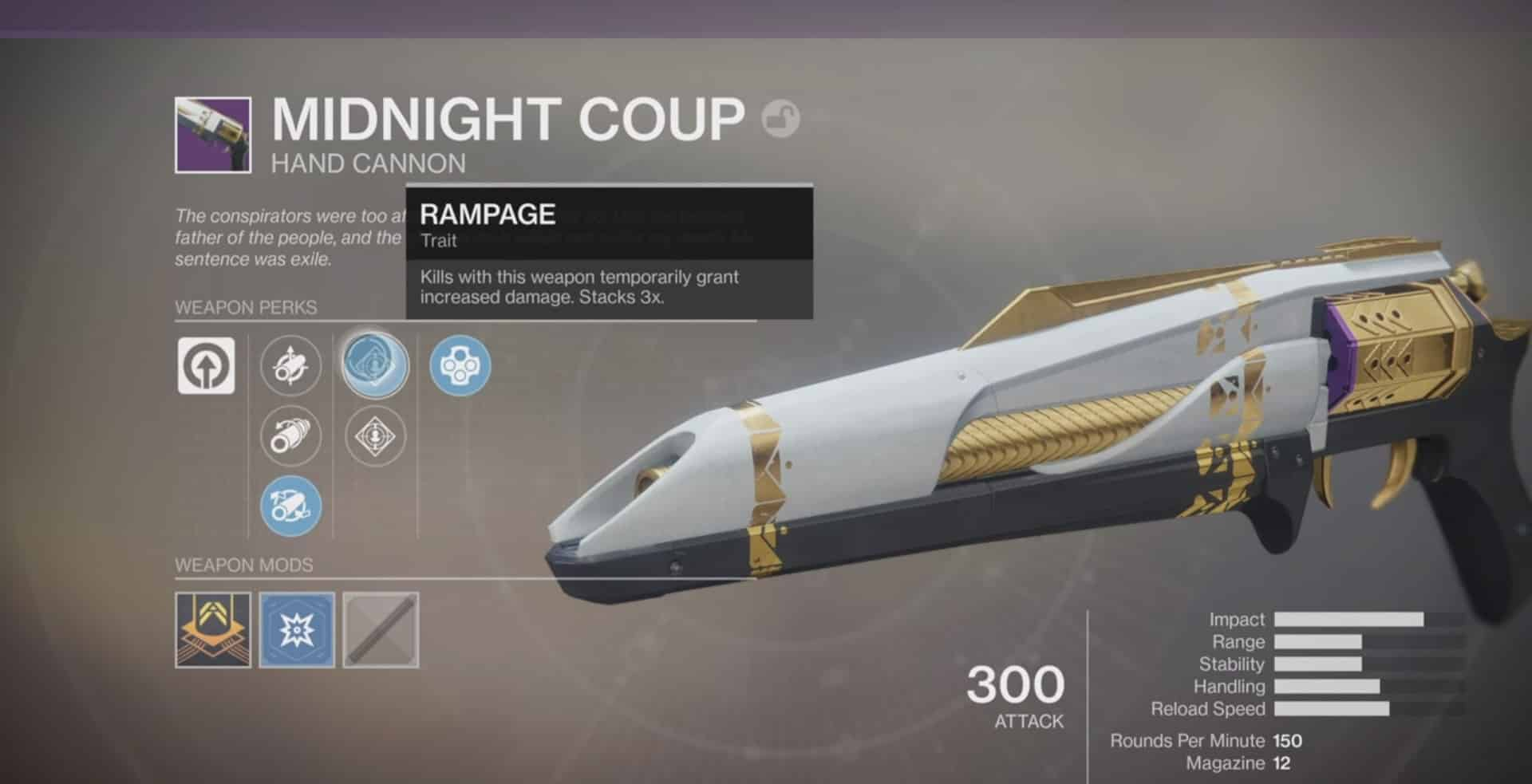 midnight coup new Destiny 2 hand cannon