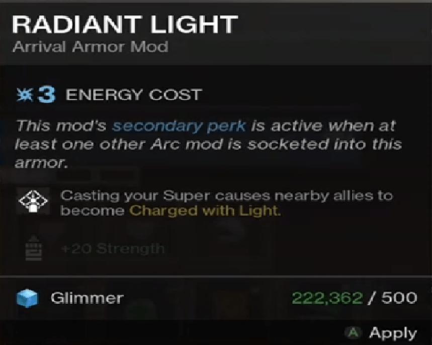 Beyond Light Destiny 2 Radiant Light